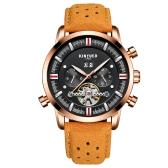 KINYUED Business Watch 3ATM resistente à água relógio mecânico automático relógio de pulso luminoso de couro genuíno calendário masculino