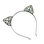 Moda Cat Ears Hair Hoop Headband para mujeres Cute Cat Ears Crystal Crown Tiara Hairband Princess Headdress