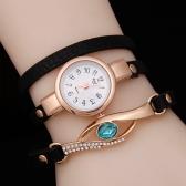 Mode Vintage Strass Uhr eingebettet Saphir Pfau Auge stilvolle Wicklung Frauen Armbanduhr