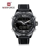 NAVIFORCE NF9128 Luxusmarken-Uhr-Leben-wasserdichte Quarz-Armbanduhr-männliche echte Leder-Uhr LED-Anzeigen-Uhr