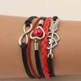 Moda Multi-camada liga de couro em forma de coração Cupido seta tecido pulseira para mulheres jóias