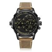 MEGIR 2093G Montre Homme Quartz Sport Double fuseau horaire cuir montre numérique analogique étanche montre-bracelet avec boîte-cadeau