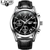 LIGE 9839 Quartz Watch Simple Men Time Calendar Display Wristwatch
