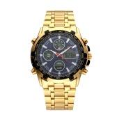Hombres Reloj multifuncional con pantalla doble Reloj de pulsera digital de aleación de moda Reloj deportivo impermeable