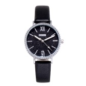 Moda feminina brilhante estrelado noite mostrador preto relógio de quartzo