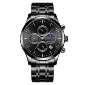 REWARD Men Watch Quartz Movement Stainless Steel Strap Time & Calendar Display Stopwatch Function 30M Waterproof Male Fashion Wristband