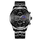Recompensa homens assistir movimento de quartzo pulseira de aço inoxidável time & calendário display função de cronômetro 30 m à prova d 'água moda masculina pulseira