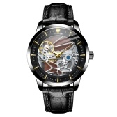TEVISE Men Automatic Mechanical Watch Analog Chronograph Business Wrist Watch 30M Waterproof Dress Watch Skeleton Dial
