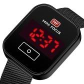 MINI FOCUS hommes montre numérique montre-bracelet électronique classique avec calendrier 3ATM bracelet en maille en acier étanche