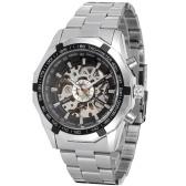 メンズ自動機械式時計スチールバンドファッション腕時計中空デザイン時計