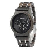 Orologio da uomo in legno con cinturino in legno e metallo, orologio da polso al quarzo, cronografo, datario