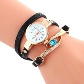 ファッションクォーツ時計埋め込み科学サファイア孔雀の目スタイリッシュな曲がりくねった女性の腕時計