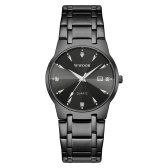 WWOOR Men Quartz Watch Exquisite Male Wristwatch with Diamond Dial Time & Calendar Display Luminous Pointer 30M Waterproof Business Watches Stainless Steel Strap Male Fashion Wristband