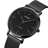 SKMEI 1664 Quartz Men Watch Minimalist Elegant Thin Wristwatch 30M Waterproof Analog Watch with Stainless Steel Mesh Band for Men