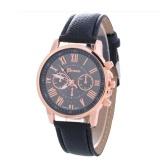 Retro Roman Numeral Ladies Gentleman Wristwatch Stylish Elegant Exquisite Quartz Watch for Men Women Casual Wristband with PU Leather Strap