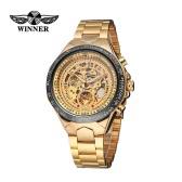 GANADOR alta calidad hombres reloj mecánico automático grande marcar automático esqueleto negocios ahuecada reloj de pulsera