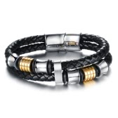 New Fashion Unique Charming Men Genuine Leather Stainless Steel Magnetic Buckle Bracelet Rope Bangle Wristband Jewelry for Party Gift