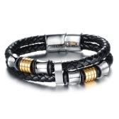 Neue Art und Weise einzigartige reizend Männer echtes Leder-Edelstahl-magnetisches Buckle Armband-Seil-Armband-Armband-Schmucksachen für Partei-Geschenk
