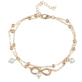 Fashionable All-Match Elegant Hand-Made Gold Silver Plated Simulated Pearl 8-Character Pattern Double Anklet Chain Bracelet Jewelry Gift for Women
