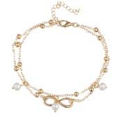 De moda de todos los colores elegante hecho a mano de oro plateado simulado perla de 8 caracteres de patrón doble tobillo Cadena de pulsera regalo de joyería para las mujeres