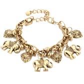 Nueva moda celebridad diseño clásico vintage pulsera elefante único tallado romántico corazón modelo pendiente personalidad pulsera