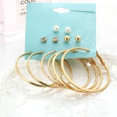 Fashion Personality Large Ring Earrings Pearl Ear Studs 6 pares de Suit Jewelry Accessory