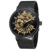 FORSINING Luxury Luminous Skeleton Men Mechanical Watch Hand-Winding Mesh Stainless Steel Band Man Casual Wristwatch + Box