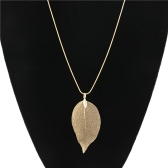 Fashion Natural Alloy Leaf Pendant Necklace Long Sweater Chain for Women Jewelry Gift