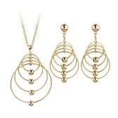 Mode Übertrieben Runde Kreis Halskette Ohrringe Vergoldet Party Rock Persönlichkeit Schmuck-Set