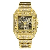 Men Quartz Watch with Rhinestones Male Fashion Watches Exquisite Diamond Watches Time & Calendar Display Male Cool Wristband Men