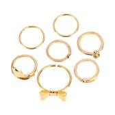 7pcs estilo Punk Color oro cráneo Bowknot corazón diseño uñas Simple banda apilado dedo anillos conjunto para las mujeres