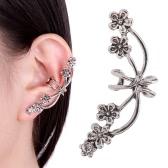 1Pcs New Punk antyczne Retro Tone metalowe kwiat Ear Cuff Wrap Clip Earring