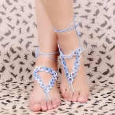 Gradiente de cor algodão Thread Crochet pé corrente pulseira tornozeleira geométricas descalço sandália de praia