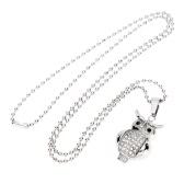 Shinning Strass Eule Anhänger Kragen Kette Halskette Modeschmuck