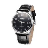 Zwycięzca Prosta Automatyczna Automatyczna Automatyczna Mechaniczna Oglądaj Komfortowy Pasek Skórzany Fantastyczny Zegarek Unisex z Kalendarzem