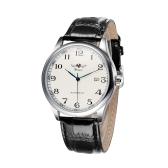 GANADOR Simple automático reloj mecánico automático cuero cómoda correa fantástico Unisex reloj de pulsera con calendario