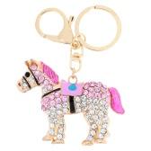 Fashional ジュエリー中空輝くラインス トーン金色の馬ペンダント キーホルダー キーホルダー