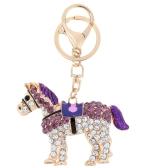 Fashional Jewelry Hollow Shinning Rhinestone Aureate Horse Pendant Key Ring Key Chain