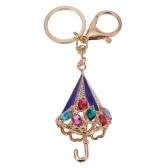 Fashional ювелирные изделия пустотелые сверкающих горный хрусталь золотистые зонтик кулон брелок брелок для ключей