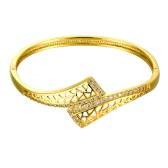 Brass Bangle Bracelet Embedded with AAA Zircon with An Opening & Triangle Nets Golden & Rose Golden Fashional Accessories for Women