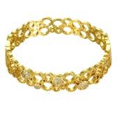 Hohle Messing-Armreif eingebettet mit AAA Zirkon mit einer Öffnung Golden & Rose Golden Fashional Zubehör für Frauen