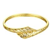 Bracelet jonc en laiton intégrée avec Zircon AAA avec une ouverture & lignes creuses accessoires Fashional Golden & Or Rose pour les femmes