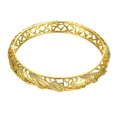 Hollow Nets Brass Bangle Bracelet Embedded with AAA Zircon with An Opening Golden & Rose Golden Fashional Accessories for Women