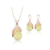 Conjunto de jóias de cristal verde opala pingente de colar e brincos de zinco liga & Rhinestone Fashional acessórios para mulheres