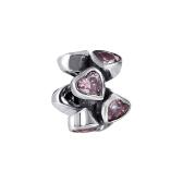 Romacci Pink Rose Enamel Bead S925 Sterling Silver for European Charm Bracelet DIY Women Jewelry