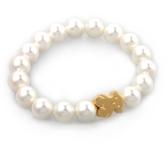 Braccialetto di perle artificiali Orsetto in acciaio al titanio 316L con placcatura sottovuoto Decorazioni di gioielli femminili alla moda 16 cm