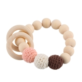 Safety Round Natural Wood Grain Baby Teething Wooden Nursing Bracelet Chew Cute Training Biter Teether Toy