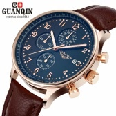 GUANQIN Luxury Brand Moda Genuine Leather Men Casual Quartz Watch 30 M Wodoodporny kalendarz Mężczyzna Business Watch z 3 podbranymi