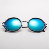 JOGAL Klasyczny Retro Retro Metalowa okulary okulary Okulary przeciwsłoneczne UV400 okrągły Unisex Moda Męska Kobieta Powłoka Lustro