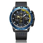 MEGIR Fashion Sport Men Watches 3ATM Water-resistant Quartz Luminous Man Wristwatch Chronograph Calendar